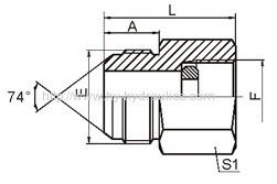 JIC male 74°cone/ BSP pressure gauge Adapters with sealing ring DKI