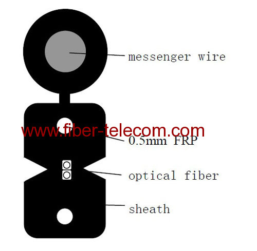 FTTH Drop Cable 2-fiber Fig.8 with 0.5mm FRP Strength member