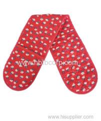 flower red double oven mitt