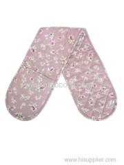 flower pink double oven mitt