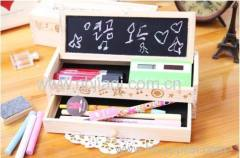Wooden pencil box with small blackboard