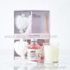 reed diffuser with scented candle and pendant