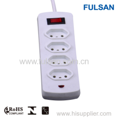 4 Gang UL/CUL power strip with individual switch and overload protection