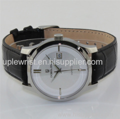 Black Genuine Leather Stainless Steel Watch. hot new products for 2014