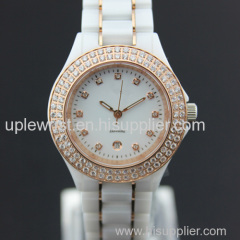 luxury and noble laddies wristwatch with stones interted in bezel