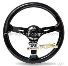 350mm Black Wood Steering Wheel