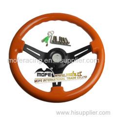 350mm racing orange wood steering wheel