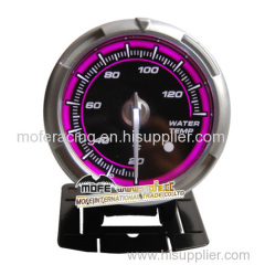 60mm black face red lcd water temperature gauge with shift light
