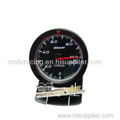 60mm black face white red led backlight turbo gauge