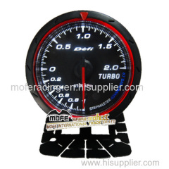 60mm black face red and white led boost gauge