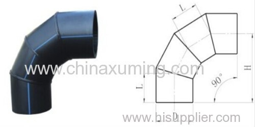 HDPE Butt Weld 90 Degree Bends with Four Segments Fittings