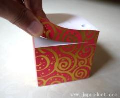 gild printing memo cube wtih pen hole