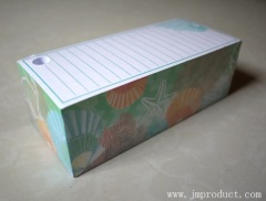container memo pad with pen hole