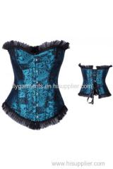 Black Strap Ruffle Lace up Corset Satin Corsets Underwear Bra lingerie