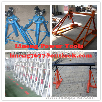 Tripod cable drum trestles made of steel