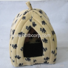 cute cat pet foldable fabric house with paw printing