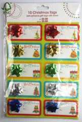 Christmas tags sticker with bow