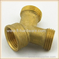Brass Y connector for washing machine cold and hot hose split