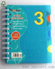 3 tab spiral notebook with pp cover