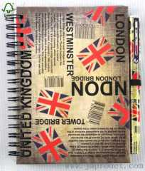 London style spiral notebook with pen