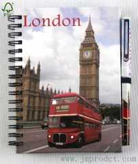 London landmark journey notebook with pen