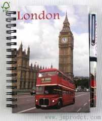 London landmark journey notebook with pen