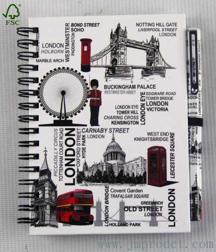 London landmark diary notebook with pen