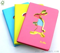 brightly colored hardcover diary with rabbit cover