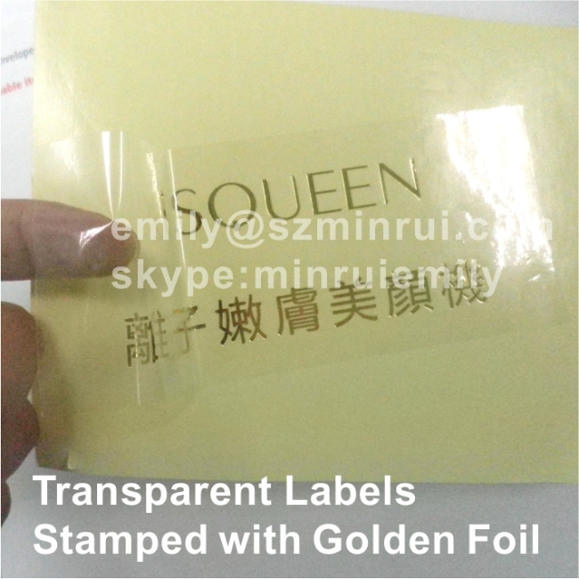 Custom Round transparent labels with foil stamping Clear stickers embossed  with glossy foil Stamped self adhesive labels Manufacturer & supplier