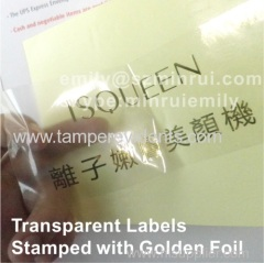 Transparent Labels Embossed with gold foil