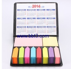 Promotional leather cover sticky notes box with calendar 2014
