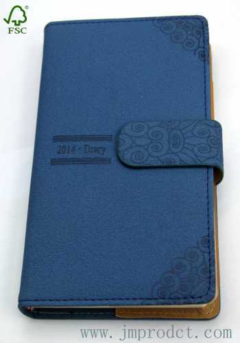 2014 magnetic diary with Suede leather cover