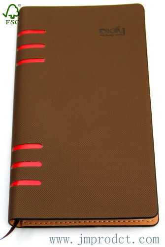 2014 FSC approved fashion brown hardcover diary