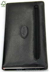business leather cover diary book with zip