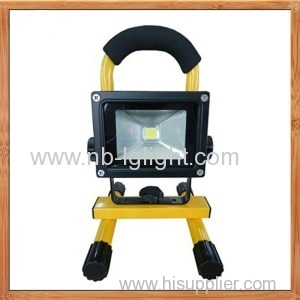 IP65 10W 120 degree beam angle yellow Portable LED Floodlight with Battery Charger