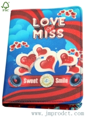 love and miss printed PU cover diray notebook