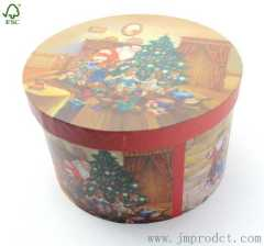 Round Christmas tree gift box for family
