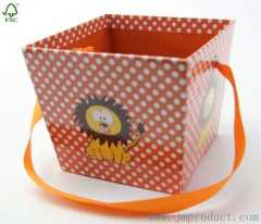 paper storage box for kids with ribbon
