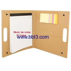 Promotional A4 size eco-friendly portfolio with sticky notes and ballpen