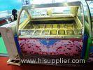 Dessert Station Stainless Steel Ice Cream Dipping Display Freezer 16 Tanks
