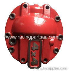 red painted steel differential housing
