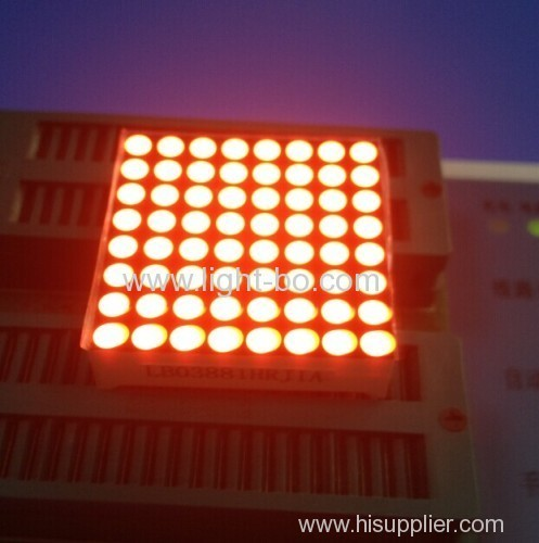 1.5 inches Blue 8 x 8 dot matrix led displays with outer dimensions 38 x 38 mm