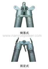 Aluminum alloy A-shape tubular gin pole to hoist moderate weight of components during the construction of transmission