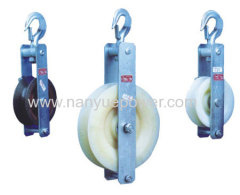 Single sheave earth wire stringing cable pulley blocks hook clavis type grounding stringing wire pulley block