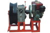 Gasoline engine pulling and assiting capstan winch powered steel pilot wire cable rope reel winder machine