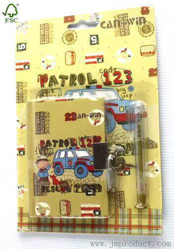 2P stationery set with lock notebook and pen