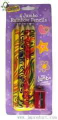 4P jumbo rainbow pencils with sharpener