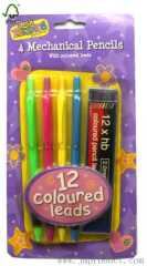 4P mechanical pencils with coloured leads
