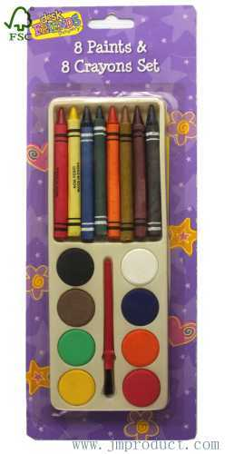 8pc paints and crayons sets