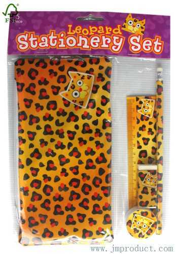 5pc leopard stationery set